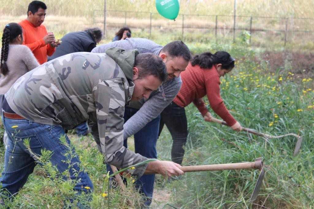 Padres y vecinos ayudaron a la limpieza del campo | Foto: Paco Polit