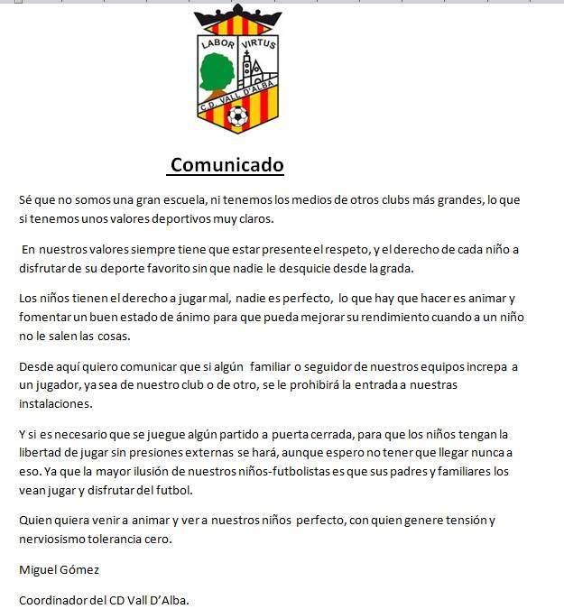vall-dalba-comunicado-oficial