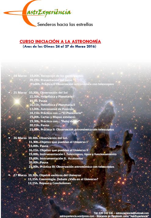 Fechas y horarios del Curso de iniciación a la astronomía