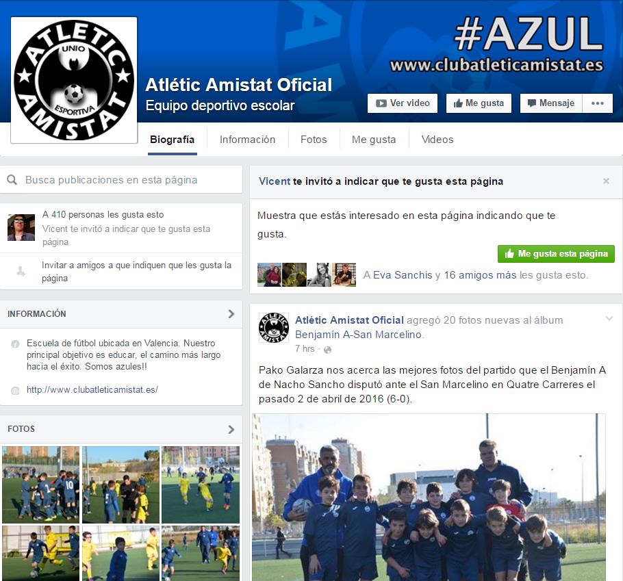 Facebook del Atlétic Amistat