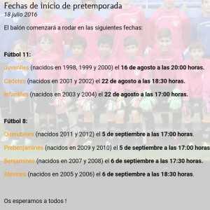 HORARIOS DE PRETEMPORADA PATACONA CF