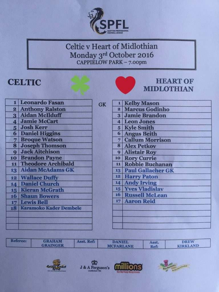 Una histórica hoja de alineaciones | Foto: Celtic de Glasgow