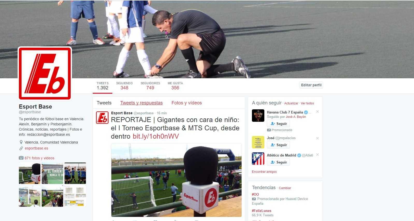 Cuenta oficial de Twitter @esportbase